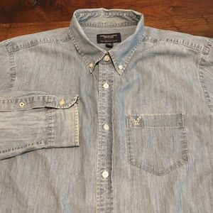 American Eagle 100% Cotton Denim Shirt XL Blue